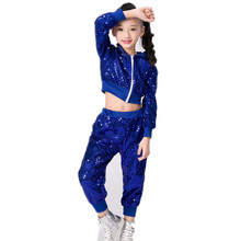 Sequins Child Jazz Stage Costumes Hip Hop Glitter Sequin Stage Wear Dance Costumes Kids Girls Party Birthday Stage Dance Set kids girl sequin dancing costume jacket coat crop top shorts hip hop jazz dance clothes for children girls street dance hip hop