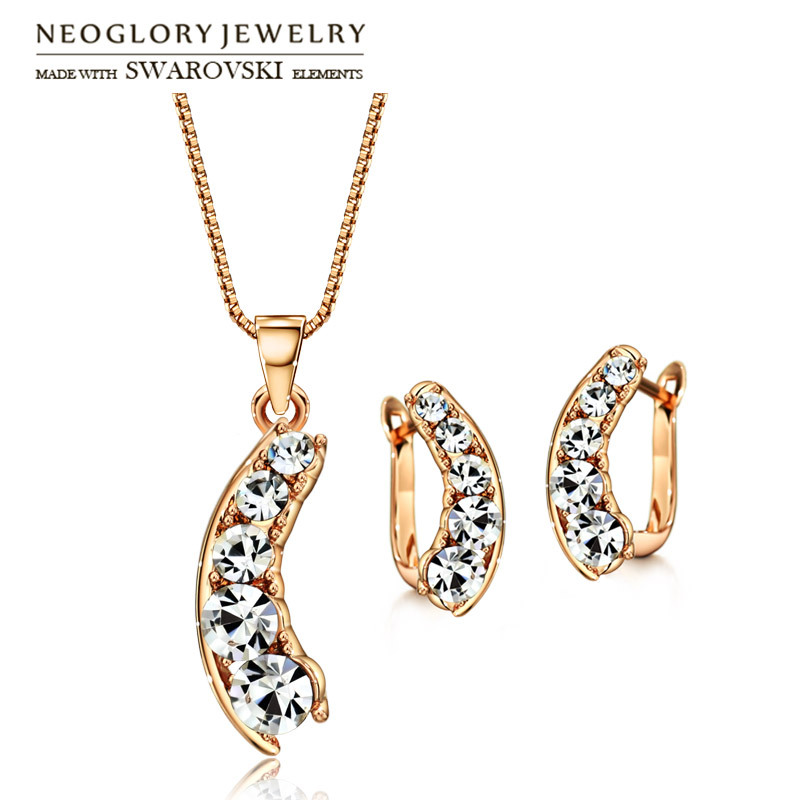 Neoglory Earrings Jewelry-Set Necklace Rhinestone Round Rose-Gold-Color Gift Sale Austria