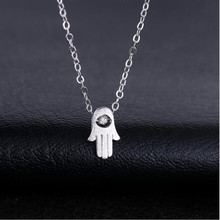 Personality Korean Fashion Creative 925 Sterling Silver Jewelry Jellyfish Palm Crystal Clavicle Chain Pendant Necklace H280