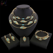 Yulaili New Gift Bride Wedding Jewelry Sets Big Arabic Dubai Fashion Anniversary Gold Leaf Necklace Pendant Earrings for Women