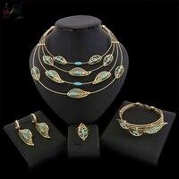 Yulaili New Gift Bride Wedding Jewelry Sets Big Arabic Dubai Fashion Anniversary Gold Leaf Necklace Pendant Earrings for Women