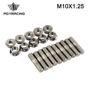 PQY - 10 шт. 10 мм шпильки для выхлопа из нержавеющей стали и зубчатые гайки M10x1.25 шпильки для конверсии высокие болты винт адаптер Комплект