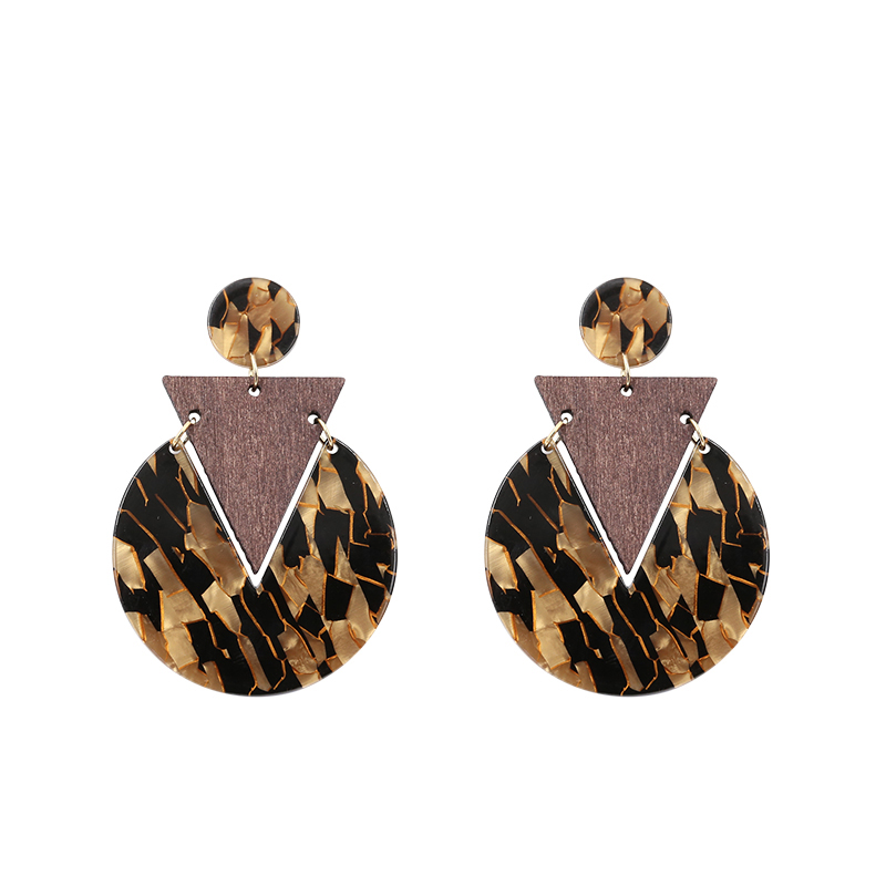 Vintage Geometric Round Triangle Acrylic earrings For Women Retro Tortoiseshell Wooden Dangle earring Party Wedding Jewelry