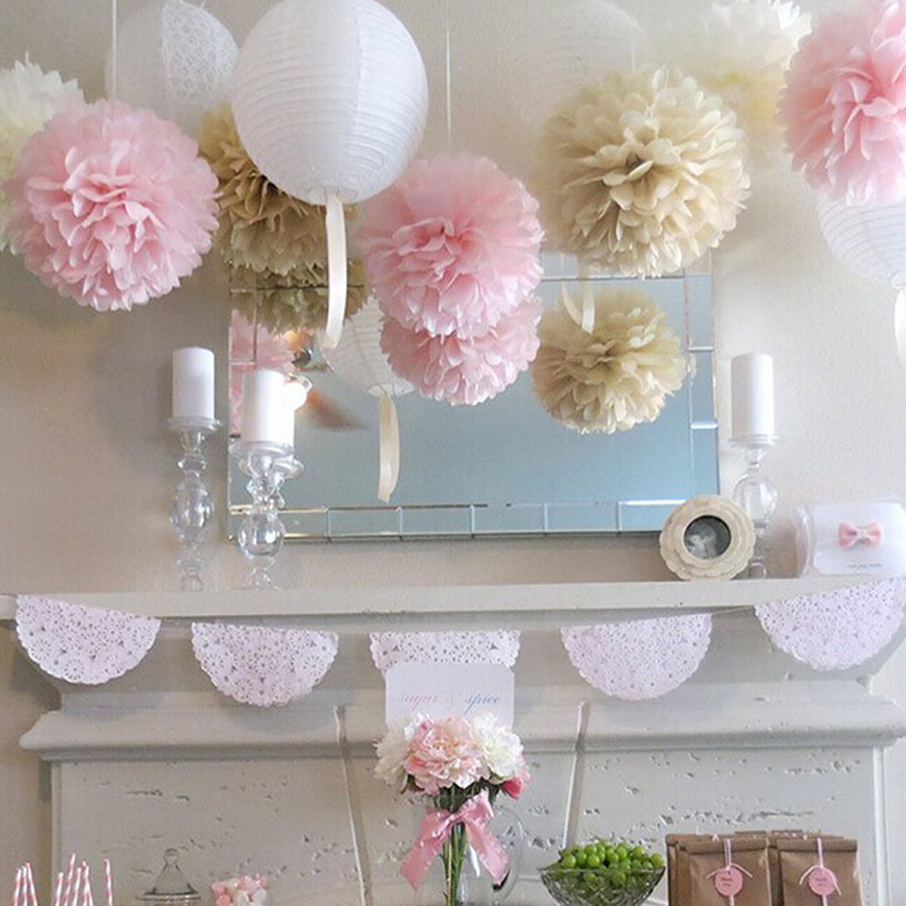 11pcs Wedding Decoration Pom Poms Paper Lanterns Party Decoration Artificial Flowers Bridal Shower Decoration Supplies title=