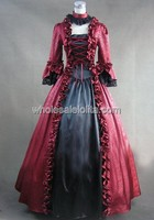 Gothic Red and Black Georgian Victorian Period Dress Halloween Masquerade Ball Gown Stage Costume