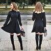 Black Lace-Up Women Autumn Casual Dress A-Line Button Lapel Goth Dress 4