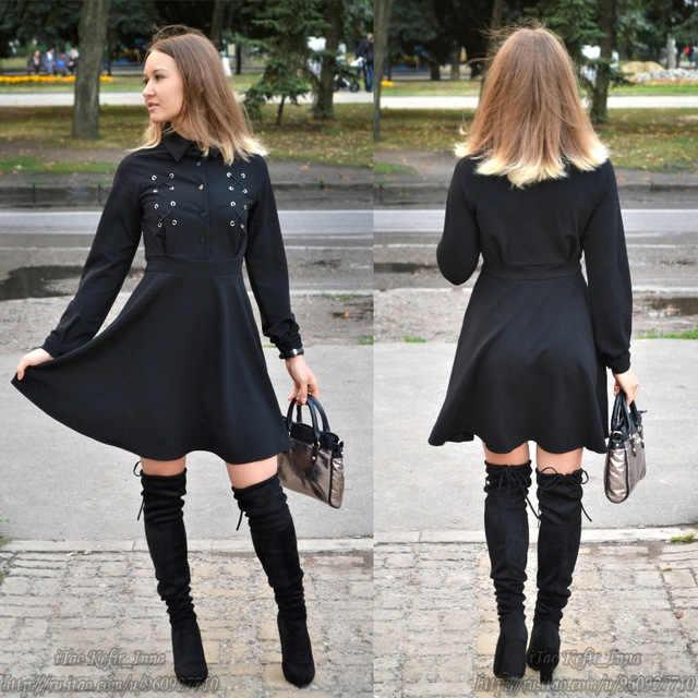 Rose gothique Mini robe noir à lacets femmes automne tenue décontractée une ligne bouton revers mode haute rue Preppy Sexy Goth robe
