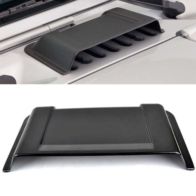 1Pcs Exterior Accessories Air Intake Caps Rain Shield For Jeep Wrangler JK 2007-2015 ABS Black Hood Scoop Vent Cover