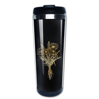 fleurs bleues coffee mug picture insert tazas stainless steel tumbler caneca tea Cups for dad
