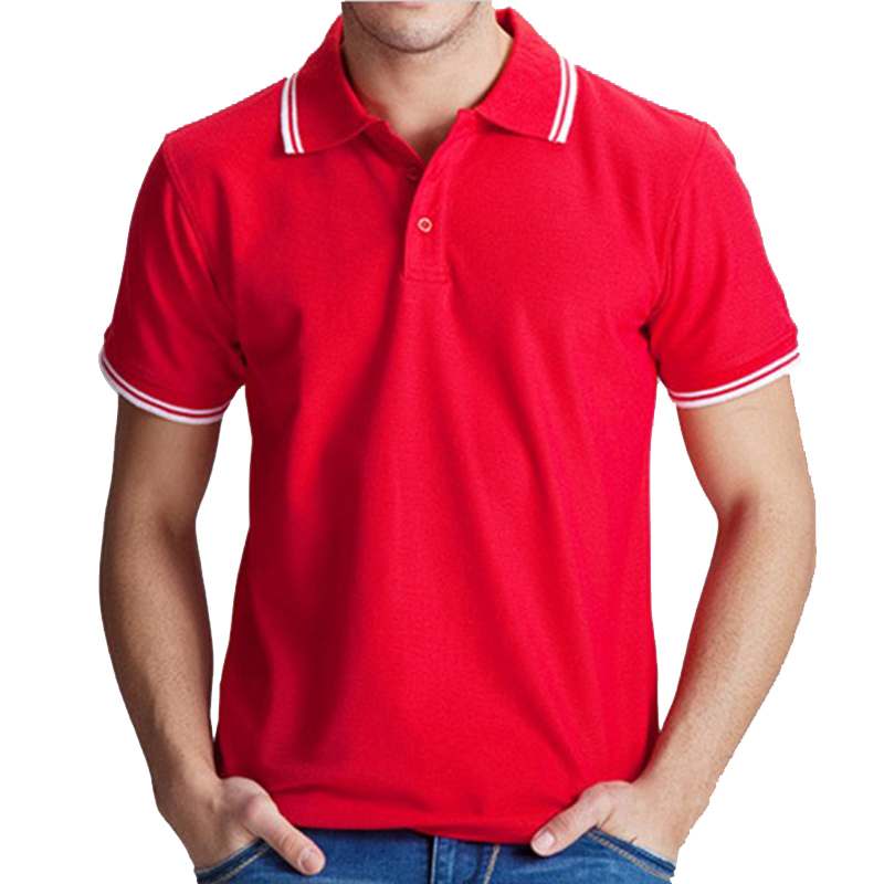 2017 Polo Men Shirt Casual Cotton Tops Solid Color Red