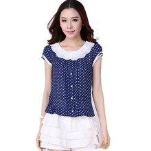 Summer Fashion Tops Sweet Polka Dot Print Loose Chiffon Blouses Women Brand Plus Size XXXXL Peter pan Collar Casual Shirt