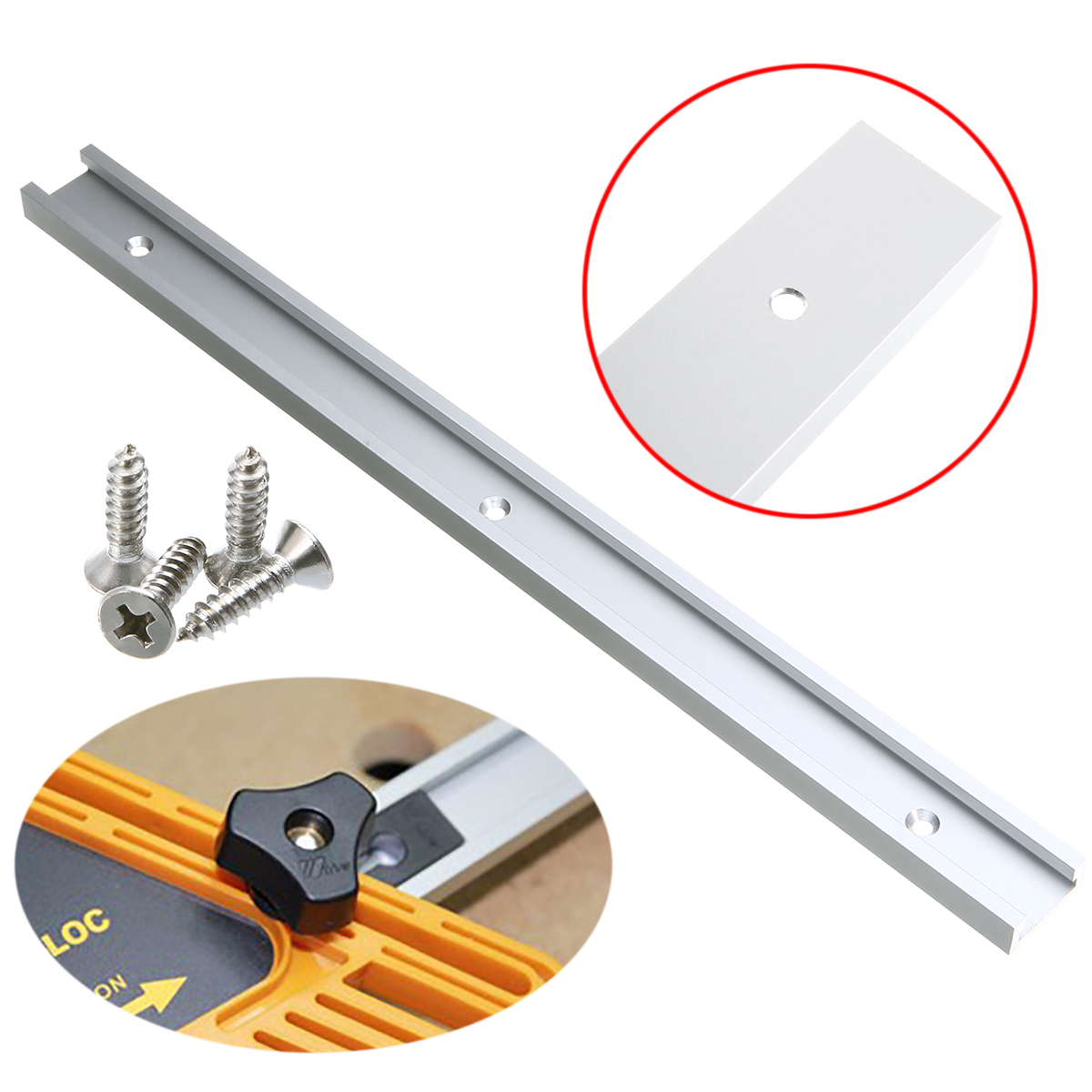 1pc 400mm T-Slot Miter Track Jig Fixture Slot Aluminum For Drill Press Router Table Band Saw