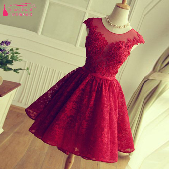 Red Short Homecoming Dresses Lace Prom Dress semi formal dresses Backless cheap Homecoming Gown vestido de formatura Z252