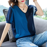 2019 New Summer Ice Yarn T Shirt Thin Style Red Blue T Shirt Women Street Wear Splice Casual Tee Shirts