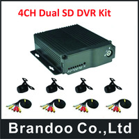 4 Channel H.264 dual SD card type Car Vehicle Mobile DVR Kits 4CH Audio /Video Record Car Dvr MDVR,free shipping to Russia