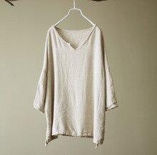 Women Rough Linen V Neck Loose Tops T-shirts Ladies Solid Color Plus Size Linen Tees Shirt Simple