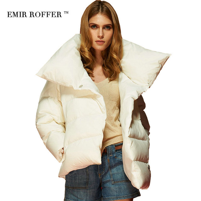 ccb36170ce26 EMIR ROFFER 2017 Winter Female Women s Down Jacket Parka Fashion Asymmetrical  Short Warm White Ladies Coats