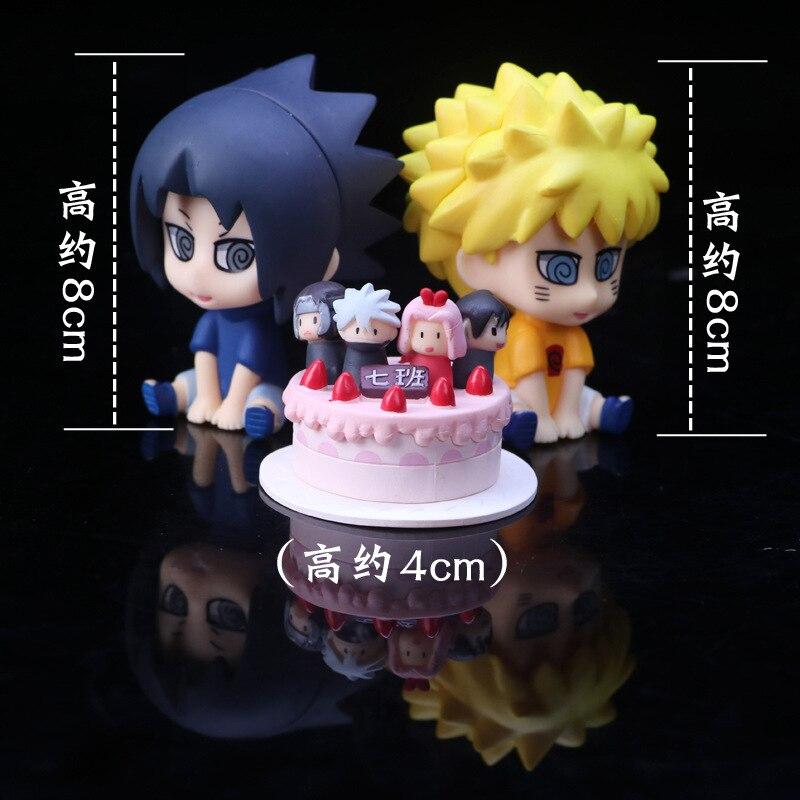J Ghee 3pcs/Set Pvc Anime Figure Naruto Uzumaki Naruto/Uchiha Sasuke Cake Ver Q Car decoration Action Figure Brinquedos