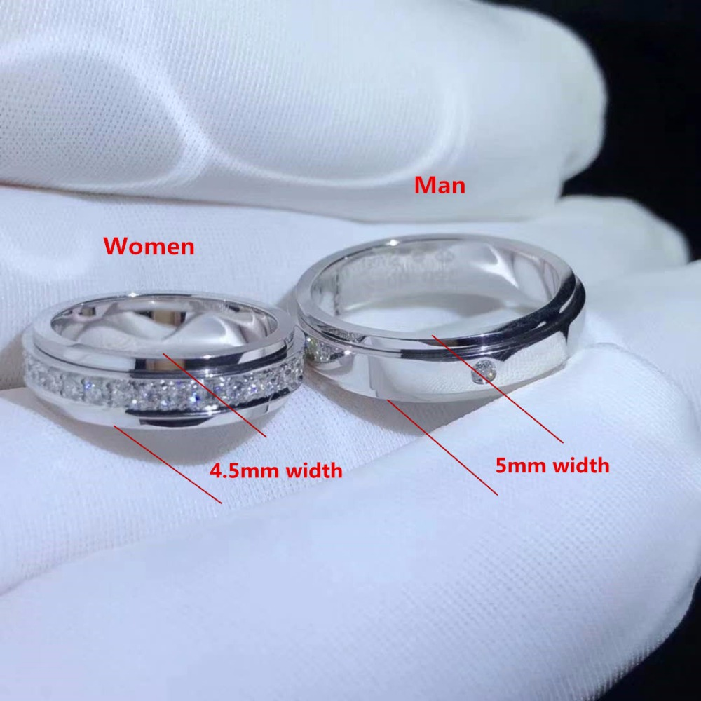 925 Sterling Silver Lover Couple Ring Sets Classical White Cubic CZ Wedding Ring for Woman Man Jewelry