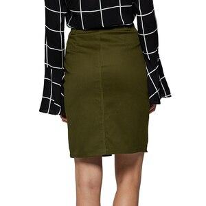 Image 4 - GLO STORY 2019 Fashion Summer Women Denim Pencil Split Skirt High Waist Sexy Work Wear Ladies Skirts WQZ 1803