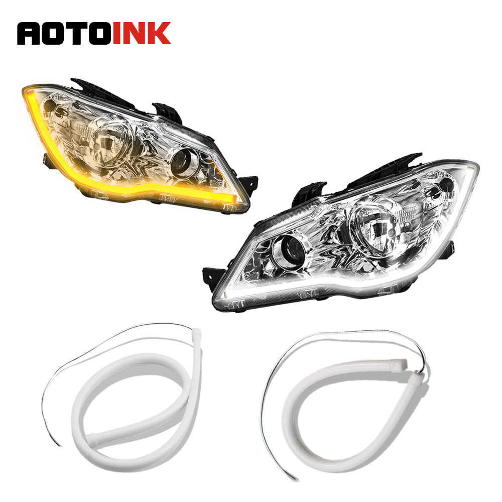 AOTOINK 2PC/Lot  DRL Flexible LED Tube Strip 30cm 45cm 60cm Daytime Running Lights Turn Signal Silicone Car Styling EJ