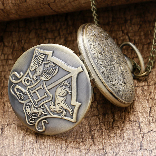 Bronze Copper Antique Style Hogwarts School of Witchcraft and Wizardry Badge Quartz Pocket Watch Necklace for Men Women Children