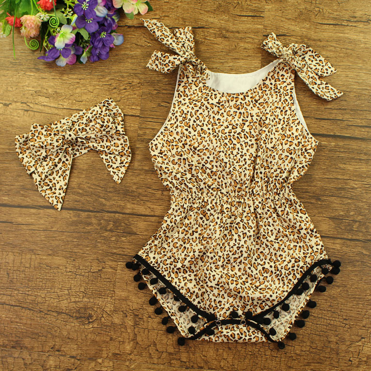 2016 Bouique Baby Romper Girl And Boy Short Sleeve Leopard Print