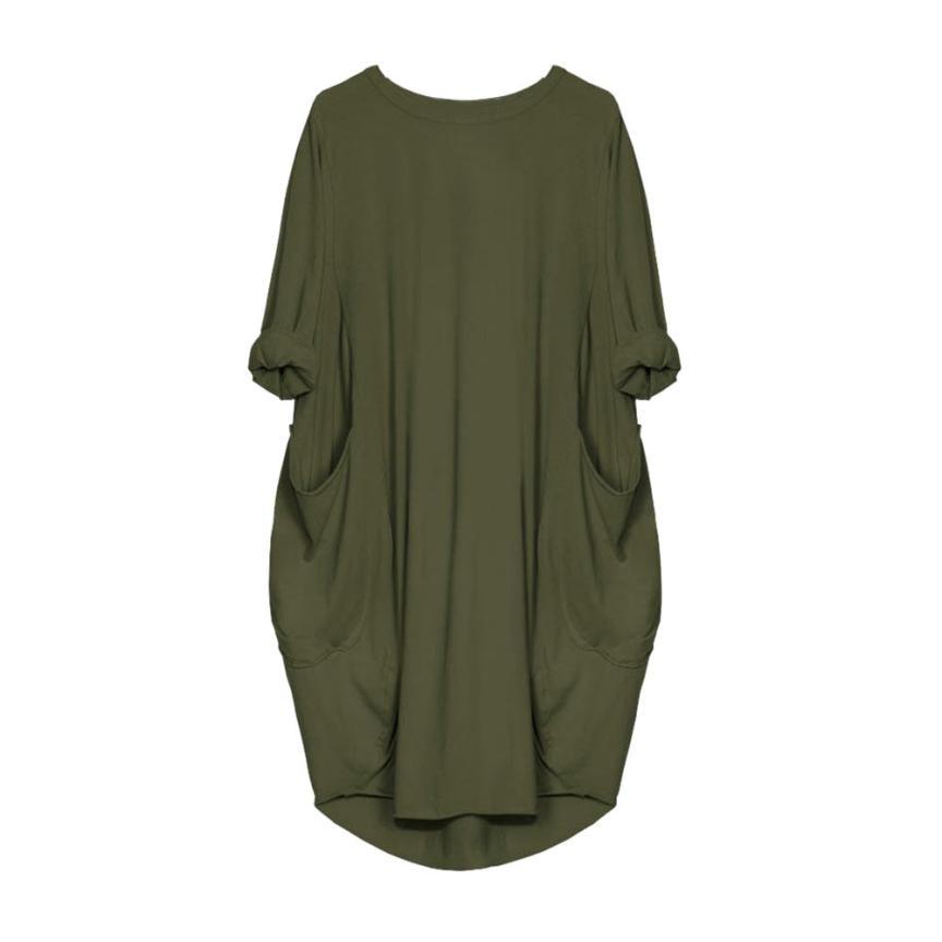 HTB1EcE9J1uSBuNjSsziq6zq8pXae Women's Fashion Dress Womens Pocket Loose Dress Ladies Crew Neck Casual Long Tops Dresses Plus Size augu10