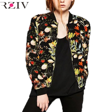 RZIV 2016 Women casual baseball jacket flower print