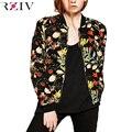 RZIV 2016 chaqueta de béisbol de impresión de la flor ocasional de Las Mujeres