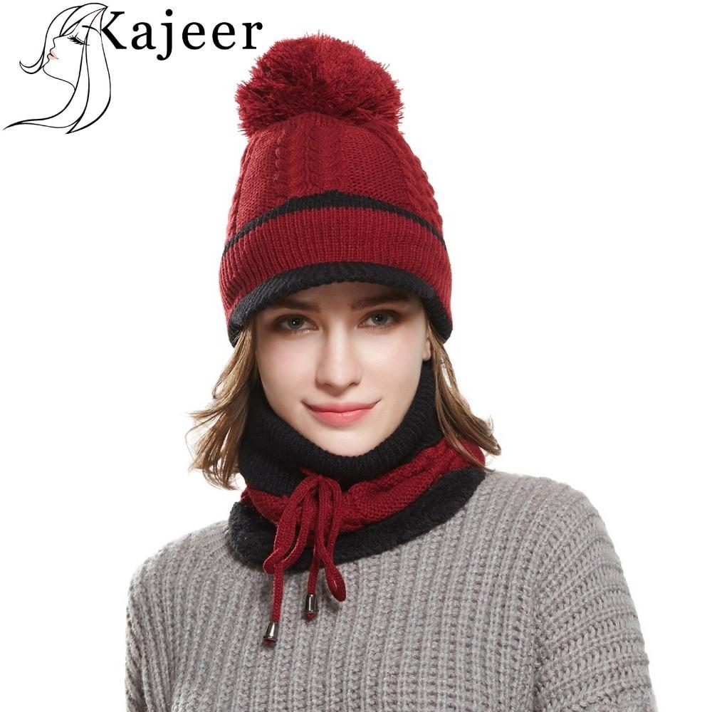 25327474545082 Winter Wool Scarf Beanie For Women Knit Hats Skull Caps Fashion Lady Winter  Set Plus Velvet