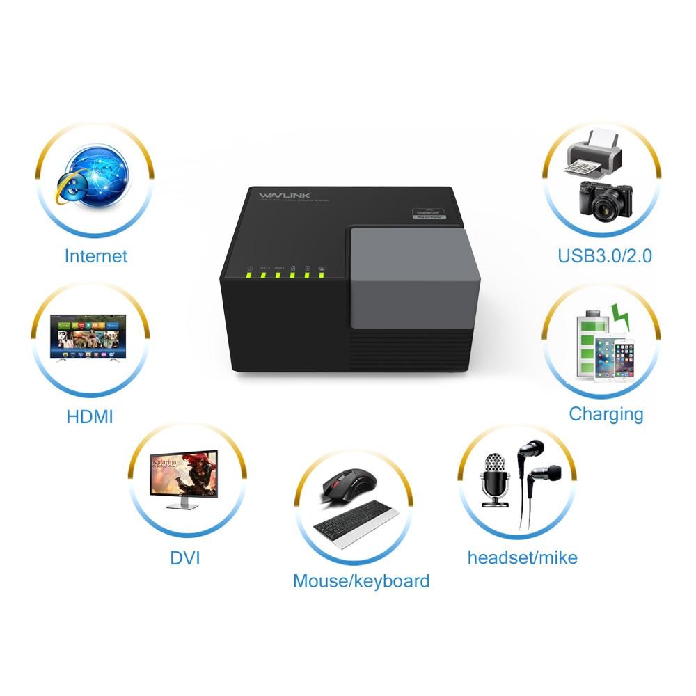 Wavlink USB3.0 Dual Video Universal Docking Station External Plug DisplayLink HD 1080P 2048x1152 DVI HDMI USB Hub Quick Charging