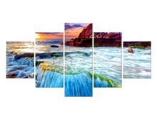 5 Pieces Free Shipping Peaceful Waterfall Modern Canvas Print Artwork Landscape Pictures Paintings on Wall Art Framed