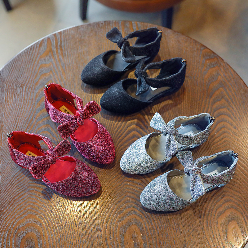 3-10T Autumn Girls Shining Princess Dress Shoes Flats Maiden Single Shoes Toddler Kids Frail Fashion Leather Blinking Shoes 6057