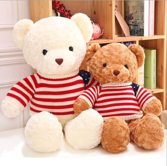 85cm Giant Size teddy bear plush toys with American flag cloth soft plush toy high quality girl gift valentine gift 1PCS 1pcs large size 120cm teddy bear plush toys bear 4 colors high quality kisd toys bear doll lovers christmas gifts birthday gift
