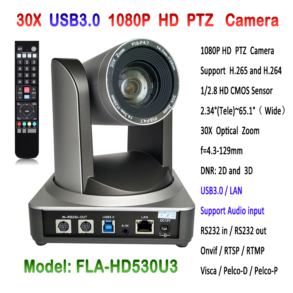 30x optical zoom HD Onvif 1080p PTZ video conference RJ45 ip camera with USB 3.0 interface