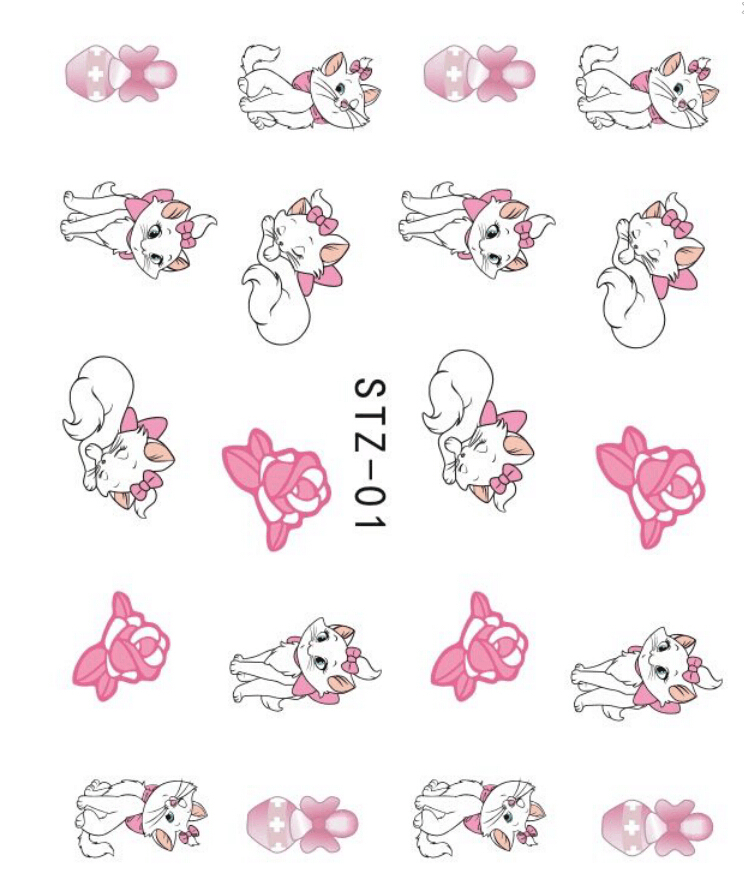 Japanese Style Watermark 1 sheet Cartoon Cute Love Cat Water Transfer Nails Art Sticker Nail Decals DIY Decoration Tools SAST01 стоимость