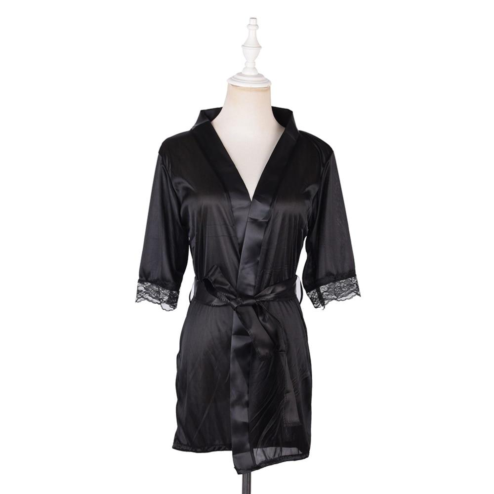 Women\'S Sleepwear Bathrobe Satin Belt Mesh Night Robe Lace Red See-Through Sexy Night Dress Sleepwear Nightgown
