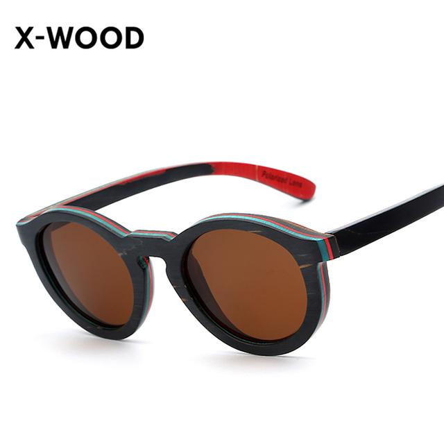 X-WOOD Eyewear Dos Homens/Women's Vintage Retro Rodada Óculos De Sol De Madeira Com Lente Espelhada Preto Artesanal De Madeira Óculos Polarizados