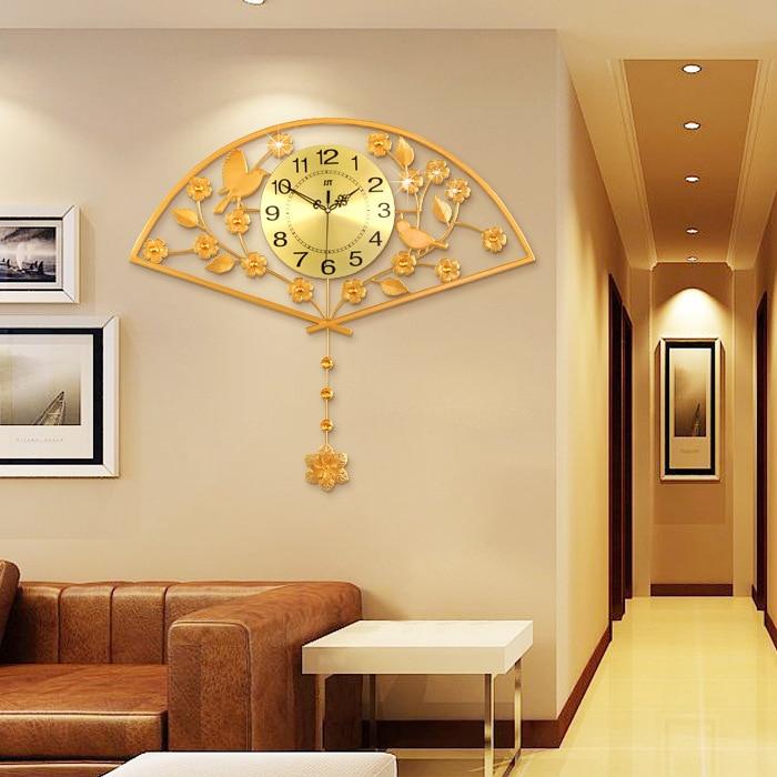 Chinoiserie Luxury Shining Golden Fan Wall Clock Creative Living ...