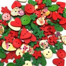 Разноцветные деревянные пуговицы для шитья, пуговица для скрапбукинга, рукоделие, свадебное украшение(Рождество), год, случайный стиль, WB486