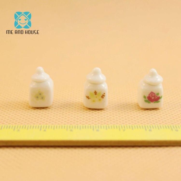 1:12 Кукольный дом Миниатюрный кухня глазурованного фарфора хранения мини-банку конфеты Комплект 3 предмета в комплекте