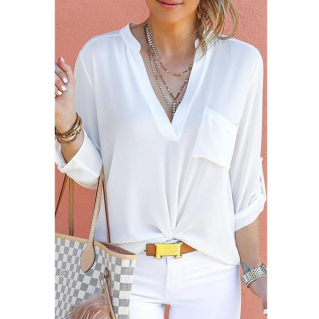 944741fd490ab Casual Chiffon cuello V camiseta de primavera señoras Color sólido camisa  blusa mujer manga larga Camiseta