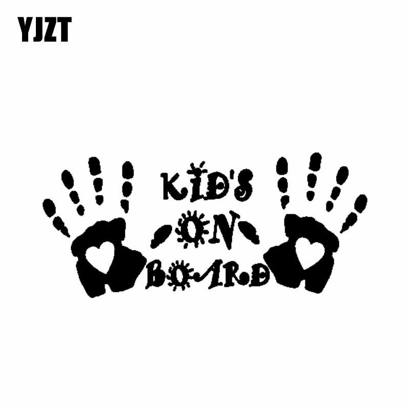 YJZT 15CM*6.8CM Sticker Decal Vinyl Car Funny Cute Palm Print KIDS ON BOARD Black/Silver C10-00707