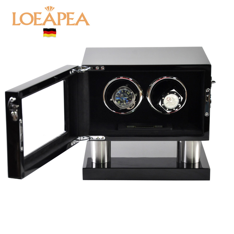 Double automatic watch winder box 2+0 watches Wood reel winder Japan motor chain winder box NEW wooden box for watch packaging 503046 d single high gloss cherry wood automatic watch winder wooden ultra quiet motor watch winder