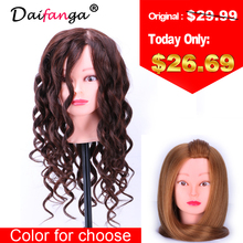 Hot Sale Training Mannequin Head With Hair 20 Inch Natural Brown Cosmetology Hairdressing Doll Manikin Heads