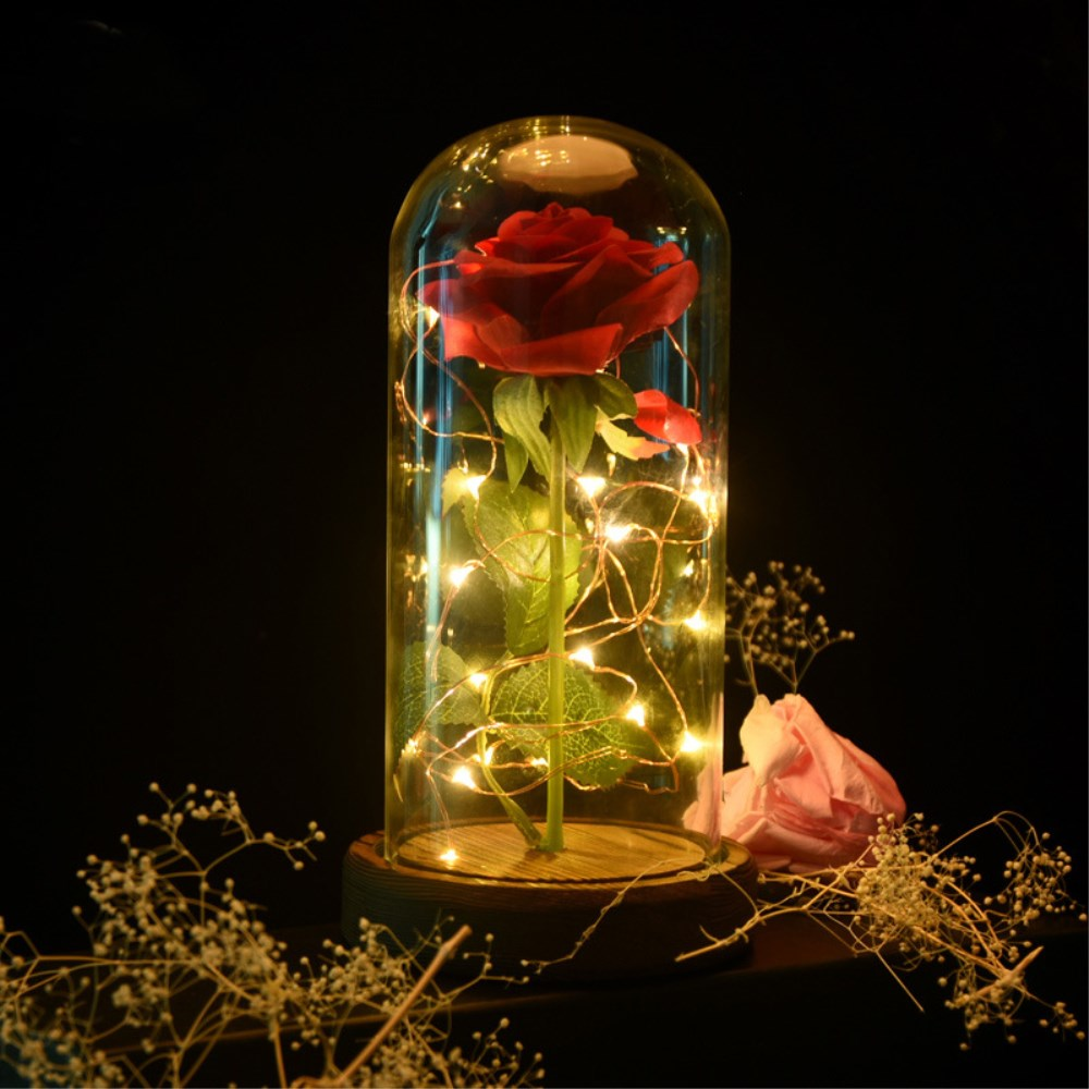 Mothers Day Gift Beauty and The Beast Red Rose in A Glass Dome Display with Wooden Base Birthday Valentines Gifts Decorative