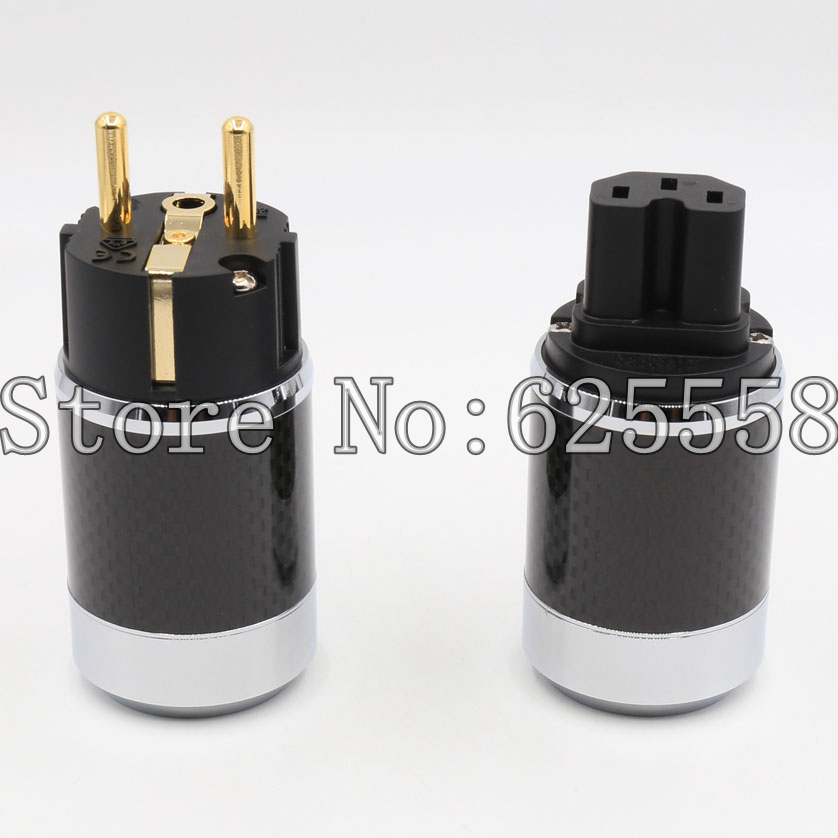 Viborg Audio Power plug Carbon Fiber Gold Plated Schuko EUR Power plug+IEC connector