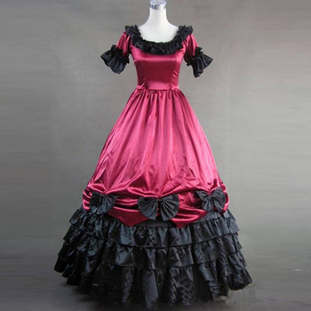 2018 Cotton Gothic Victorian Party Dress 18th Century Retro Short Sleeve Bow Court Princess Ball Gowns For Women 3 Colors