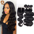 Unprocessed Brazilian Virgin Hair With Closure 3 Bundles With Closure 7A Brazilian Body Wave With Closure Ross Hair With Closure
